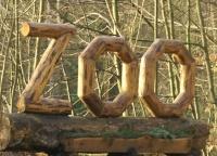 Hinweis-Skulptur des Thüringer Waldzoos Gera